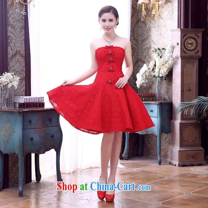 2015 wedding dresses beauty and stylish new wiped his chest small dress red wedding toast clothing bridesmaid clothing evening dress red M
