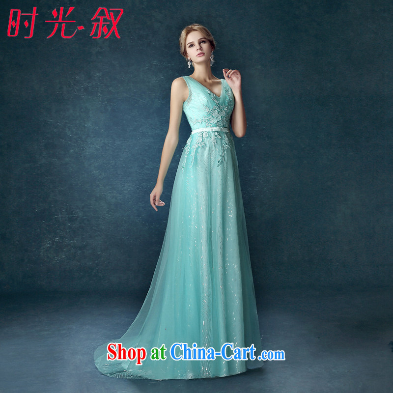 Time his blue dress sense of deep V collar, Japan, and South Korea wedding dresses bridal wedding toast serving long bridesmaid dress bridesmaid Kit car models evening dress blue XXL