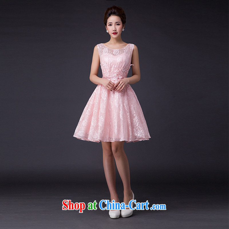 Hi Ka-hi 2015 new bows dress Korean style double-shoulder dress V Annual Meeting for the banquet show dress skirt JX 13, pink left size tailored