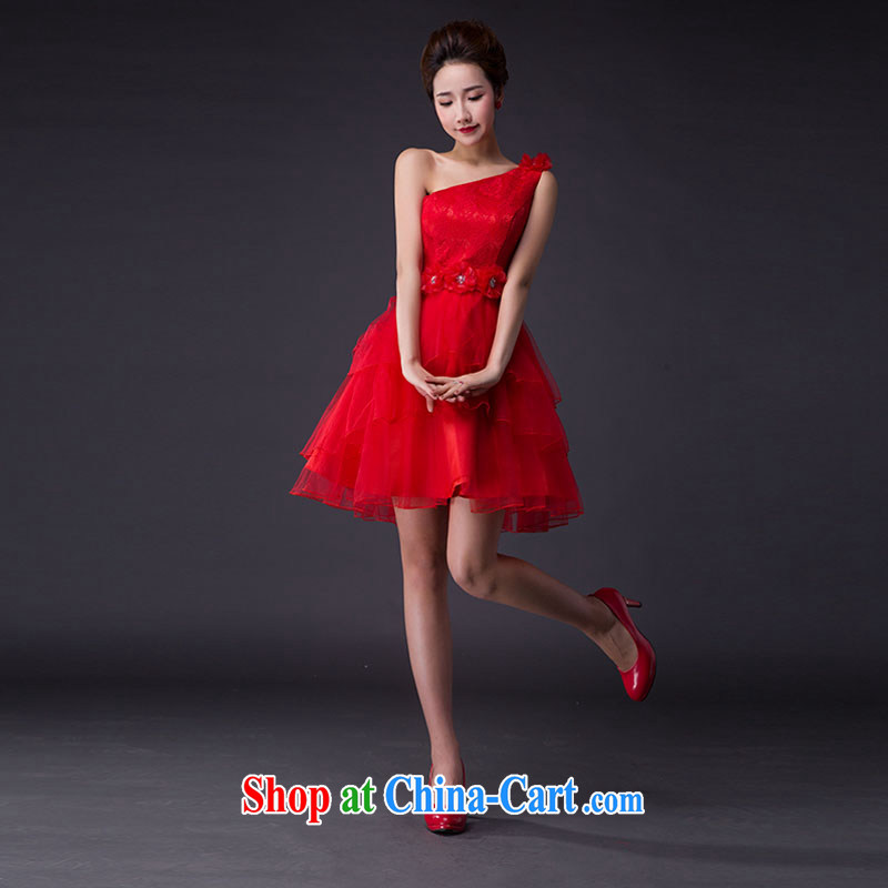 Hi Ka-hi 2015 new bows dress Korean style double-shoulder dress V Annual Meeting for the banquet show dress skirt JX 08 red left size tailored