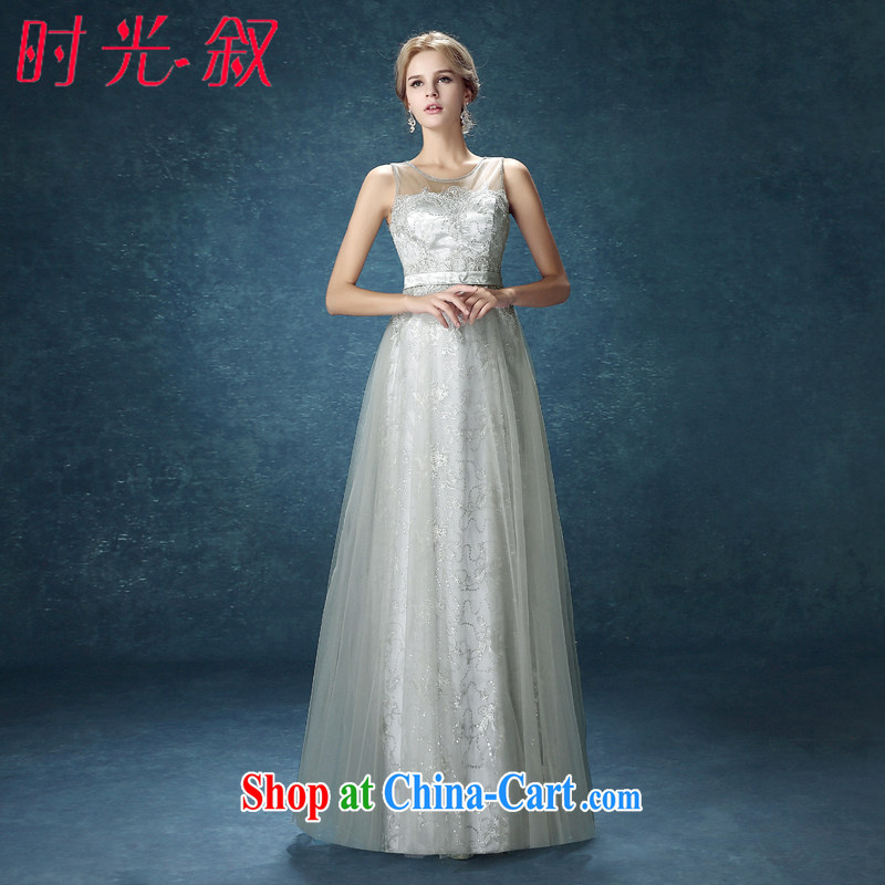 Time his Evening Dress 2015 New Long smoke gray lace style beauty wedding banquet toast clothing bridesmaid dress uniforms smoke gray M