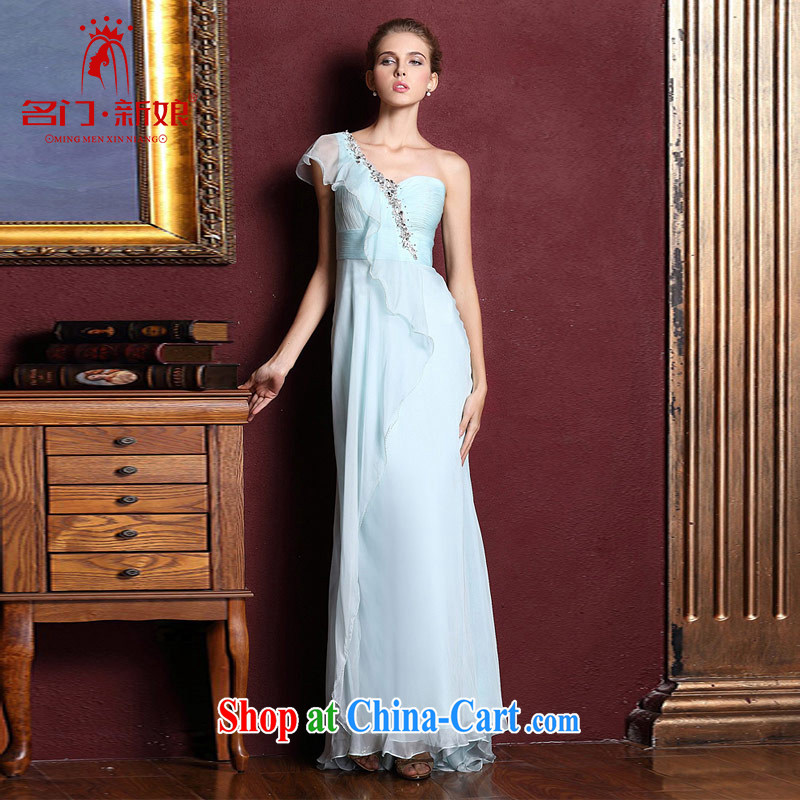 The bride's wedding dresses long, toast wedding dress 2015 new blue single shoulder dress 327 made 25 day shipping