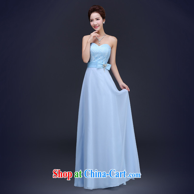 Jie MIA 2015 new bridesmaid, head of bridesmaid sisters served Ms. skirt stylish wedding dresses banquet dress girls wipe blue chest XXL
