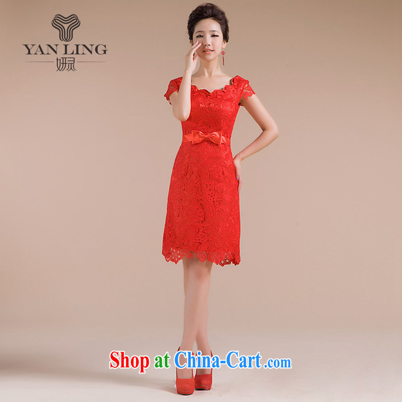 Her spirit 2015 new dresses spring pack shoulder short red cheongsam stylish lace bows serving QP - 108 red XL