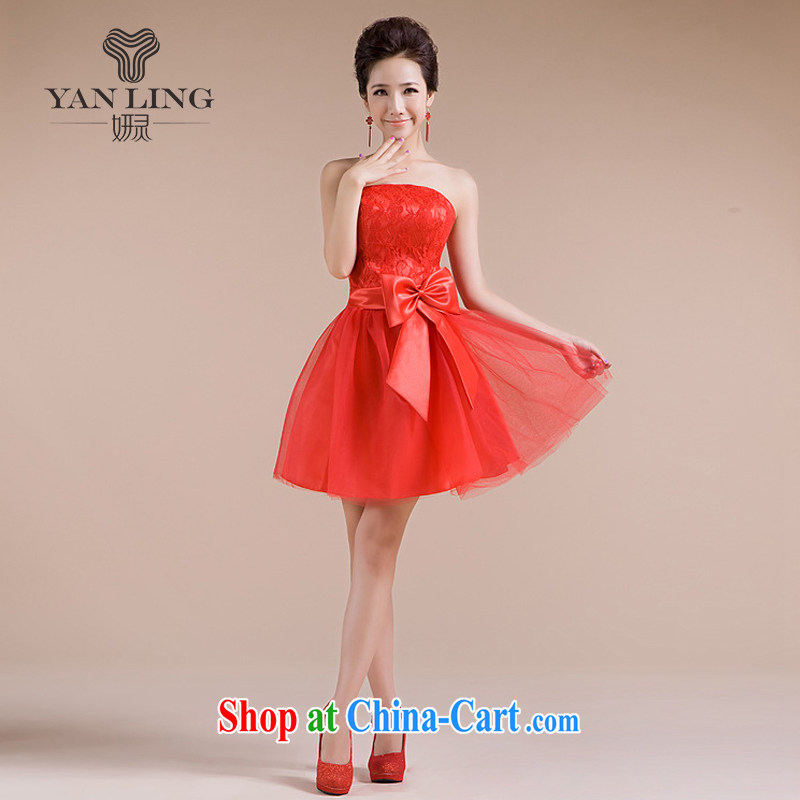 Her spirit 2015 new sister's multi-colored beauty happy sexy sweet romantic wedding small wedding dresses bridesmaid dress LF - 70 red L