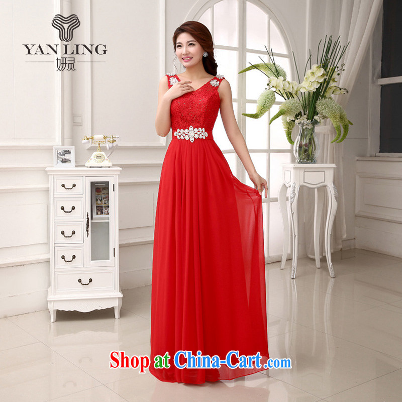 Her spirit 2015 New Beauty video Thin Red Snow woven dresses shoulders bridal toast stage bridesmaid evening dress LF 231 red L