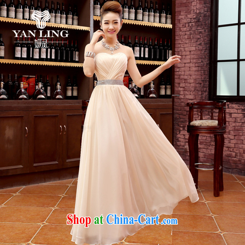 Her spirit 2015 new Korean red, shoulder-length, strap bridal wedding dress uniform toast dress dresses annual champagne color XL