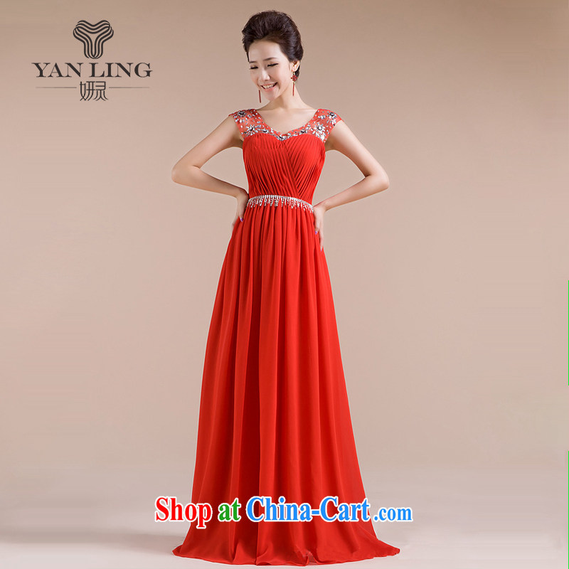 Her spirit 2015 new bride wedding dresses evening dress uniform toast long wedding snow woven dresses LF 1003 red L