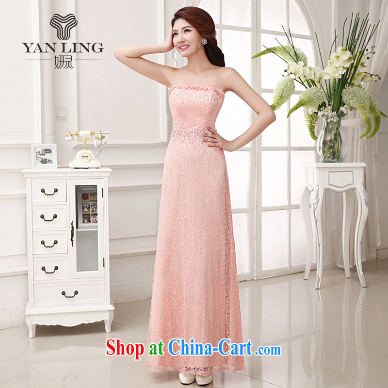 Her spirit 2015 bridal wedding dress long toast wiped his chest meat pink stylish evening dress bridesmaid performances LF 235 rose red L