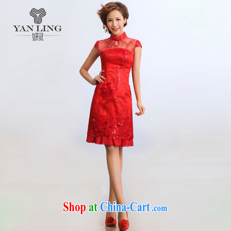 Her spirit 2015 new stylish outfit improved stylish summer show service bridal dresses red XL