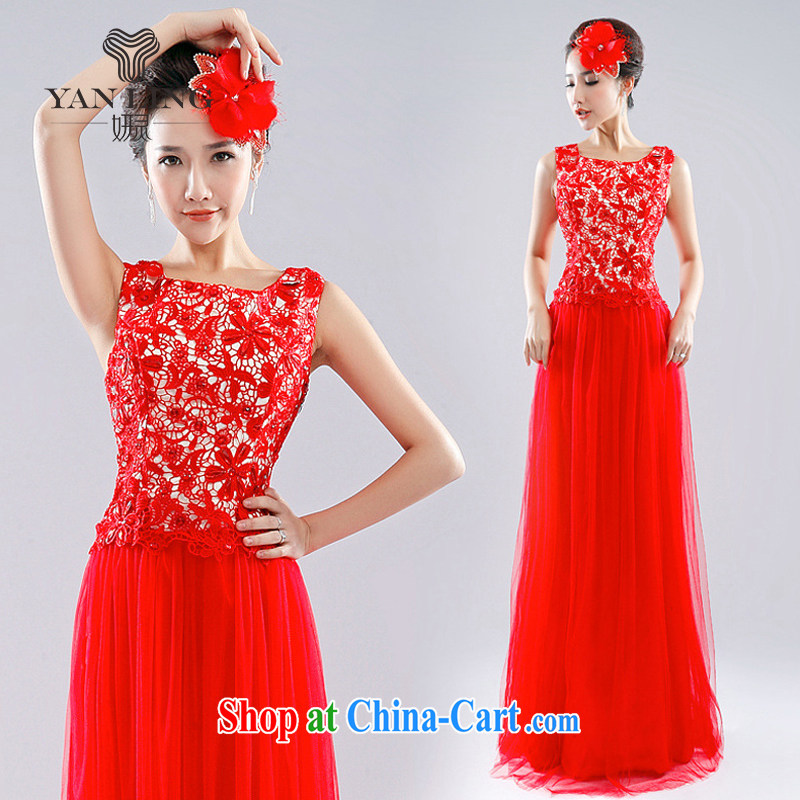 Her spirit 2015 red dress Korean new bride toast service beauty wedding wedding a shoulder-length, 1007 LF red L