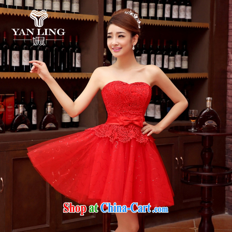 Her spirit bridesmaid dress 2015 autumn and winter, new bride's bare chest lace dress red bow-tie bows clothes dress red L