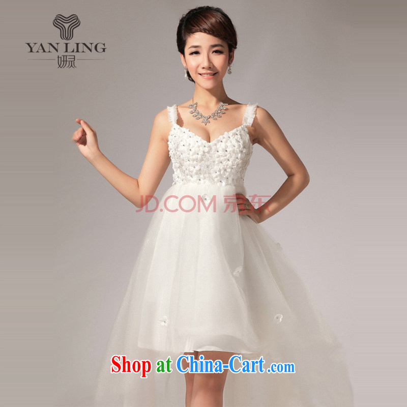 Her spirit wipe YANLING chest, short skirt is panelled drill bridesmaid dresses small lawn in front skirt short long LF 116 white L