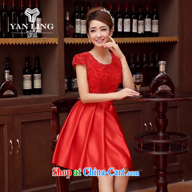 Her spirit wedding dresses bridal toast service 2015 new wedding dress bridesmaid clothing dress short dual-shoulder straps red XL