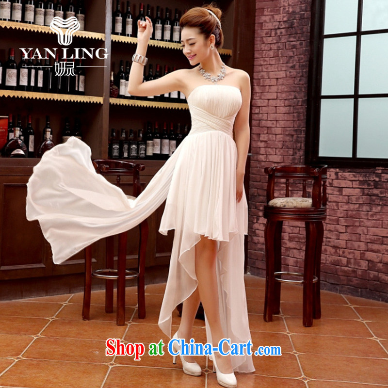 Her spirit bridesmaid dress 2015 new bride wiped chest shaggy dress short before long after serving toast Evening Dress tie Evening Dress white XL