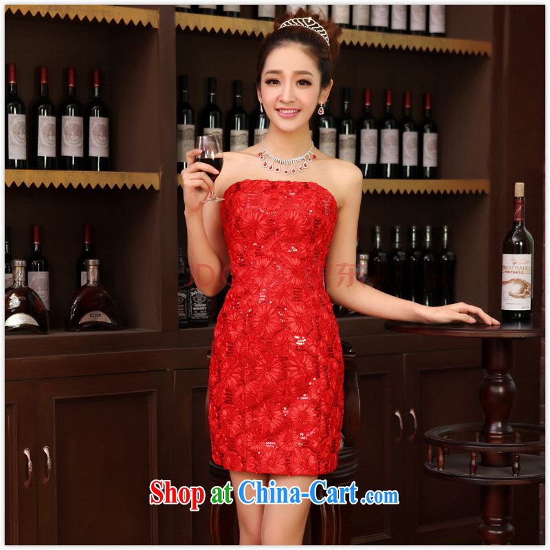 Her spirit new small dress dress bridal replacing bridesmaid clothing wedding dresses wedding toast served with short red XL