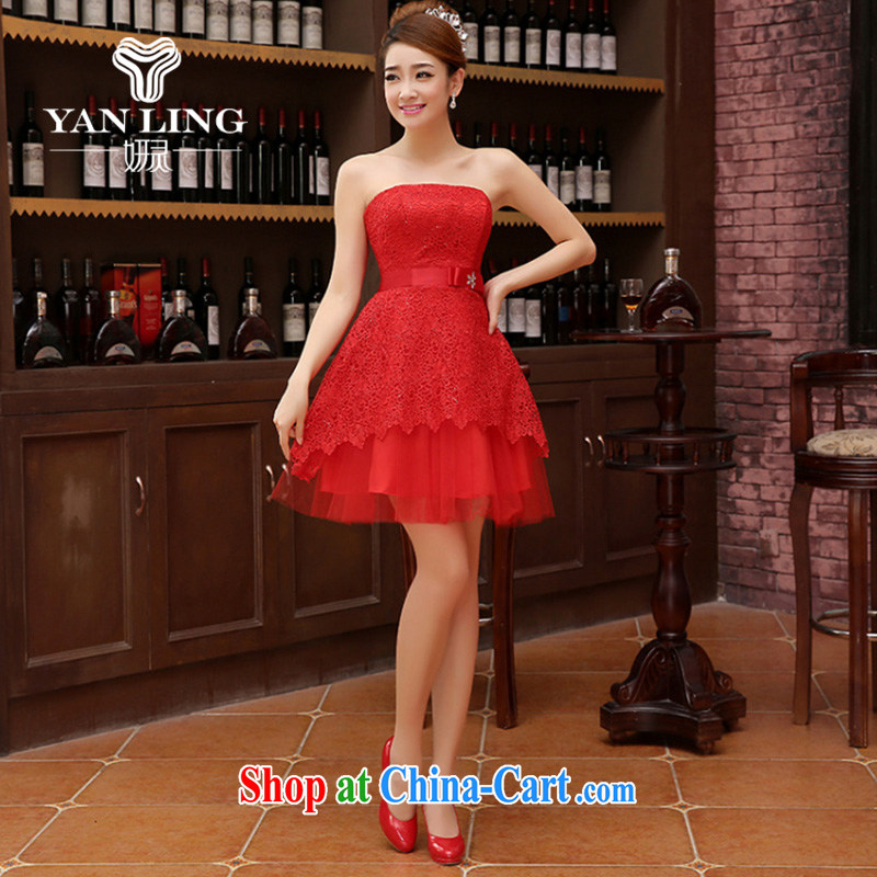 Her spirit marriage wedding dresses short bridesmaid in the wedding band short Evening Dress wedding ceremony small red L