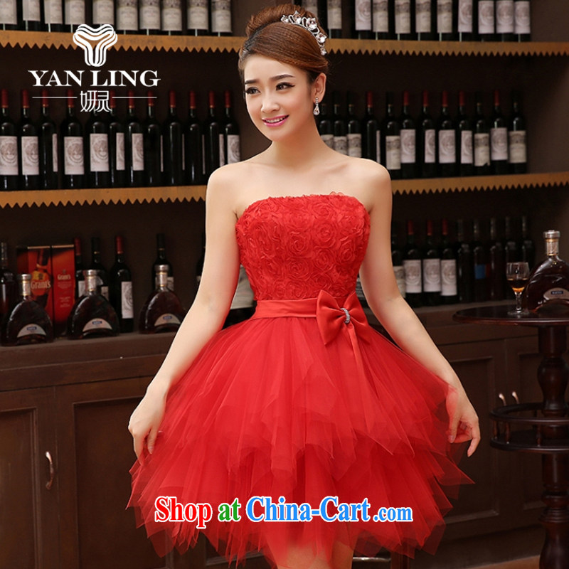 Her spirit marriage wedding dresses short bridesmaid mission the marriage tie short Evening Dress wedding dress small red M
