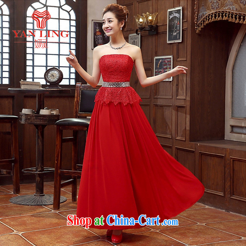 Her spirit long dress bridal bridesmaid wedding dress wedding toast service wedding Evening Dress long bridal with 2015 New Red M