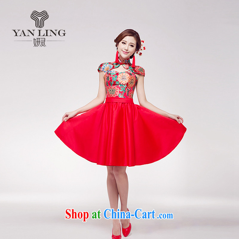 Her spirit 2015 new marriage toast serving small red dress Chinese improved stylish Princess bride short skirt dress M