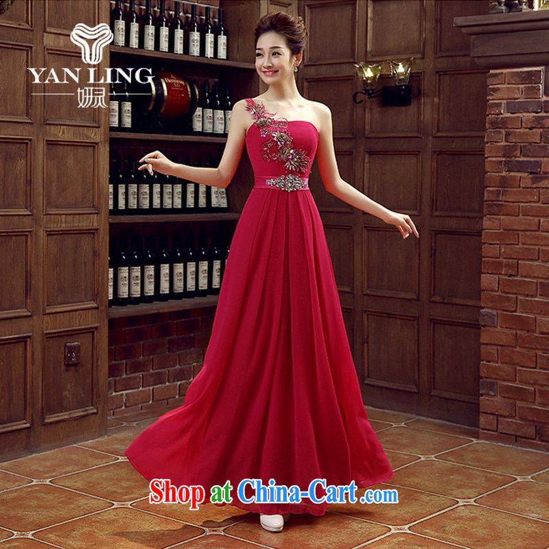 Her spirit of red bridal bridesmaid wedding dress show toast serving the shoulder Evening Dress long bridal with 2015 new deep red M