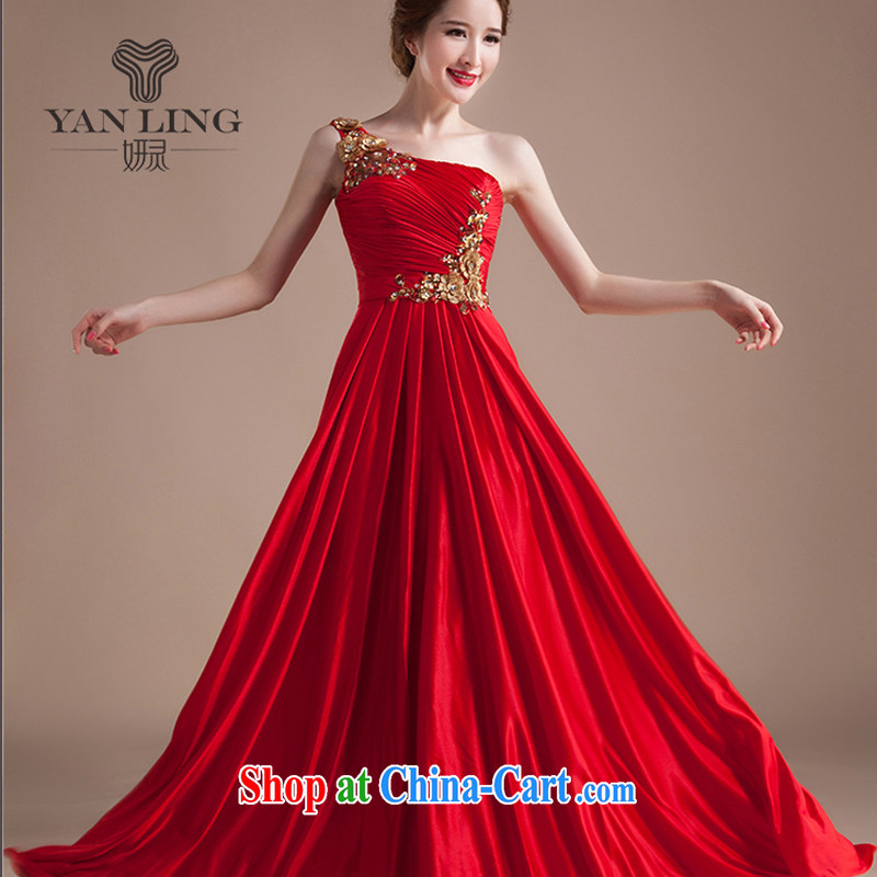 Her spirit Lace Embroidery flowers single shoulder red marriages served toast wedding dress evening dress long red M