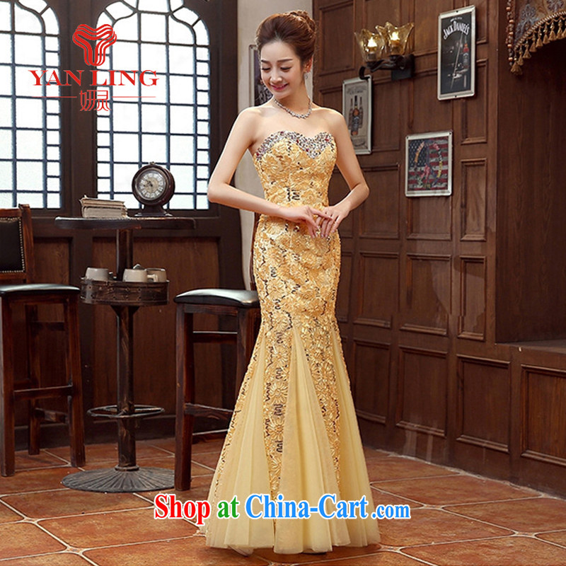 Her spirit red and yellow bridal bridesmaid wedding dress wedding toast service wedding Evening Dress long bridal with 2015 new yellow M