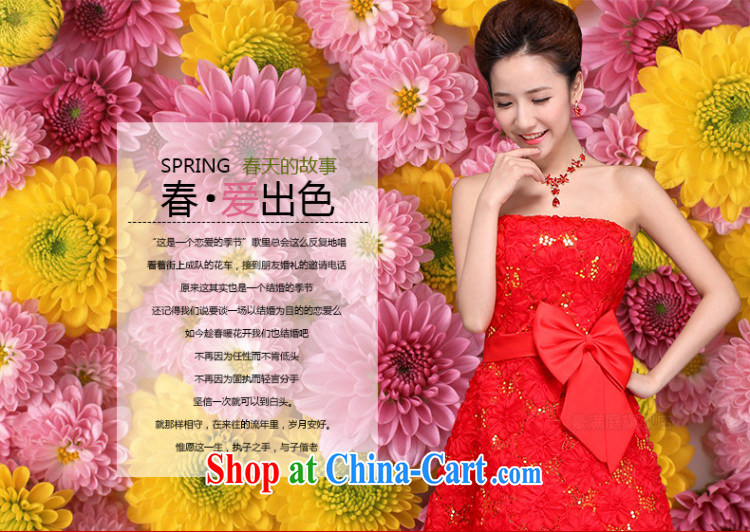 9cb583be88a Her spirit wedding dresses 2015 spring new marriages red short bows service  embroidery lace straps dress