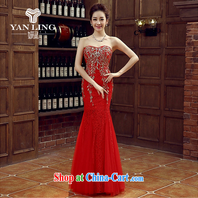 Her spirit red bridal bridesmaid wedding dress wedding toast service wedding Evening Dress long bridal with 2015 new M