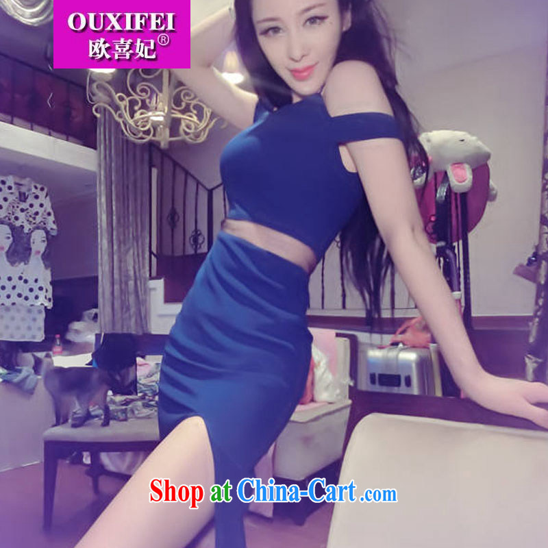 The HI Princess dresses 2015 summer on new sexy night out side the truck beauty dress long skirt Evening Dress 1113 blue L