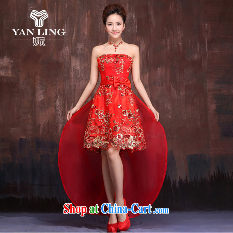 Her spirit 2015 new front short long strap dress wedding dresses bridal dresses red short bows serving M