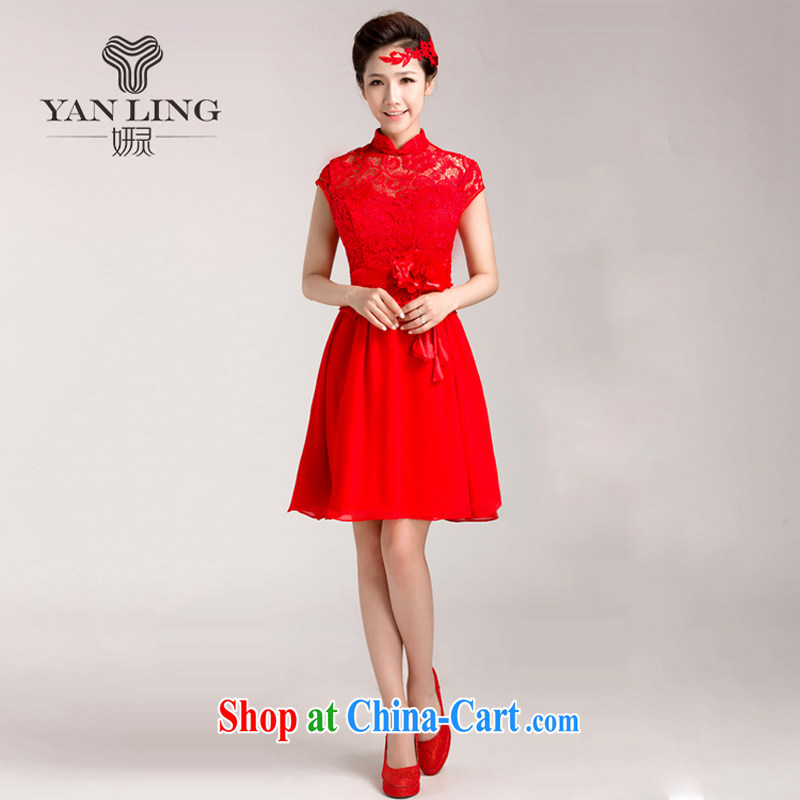Her spirit 2015 new marriages served toast red short wedding dresses lace cheongsam dress short-sleeved M