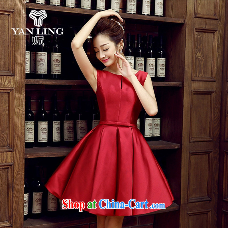 Her spirit bridal dresses wedding bows new marriage, stylish and small red dress girls dress short banquet spring and summer M
