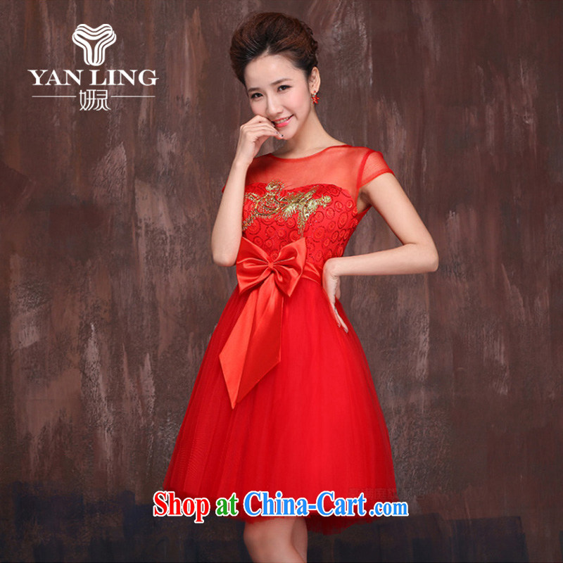 Her spirit marriages red short bows service 2015 spring and summer New Gold embroidered Bong-Openwork shoulders cheongsam dress XXL