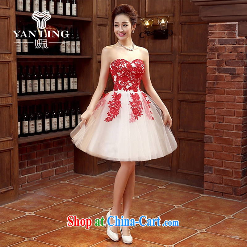 Her spirit marriages bows new marriage, stylish and small red dress girls dress short banquet spring and summer XXL