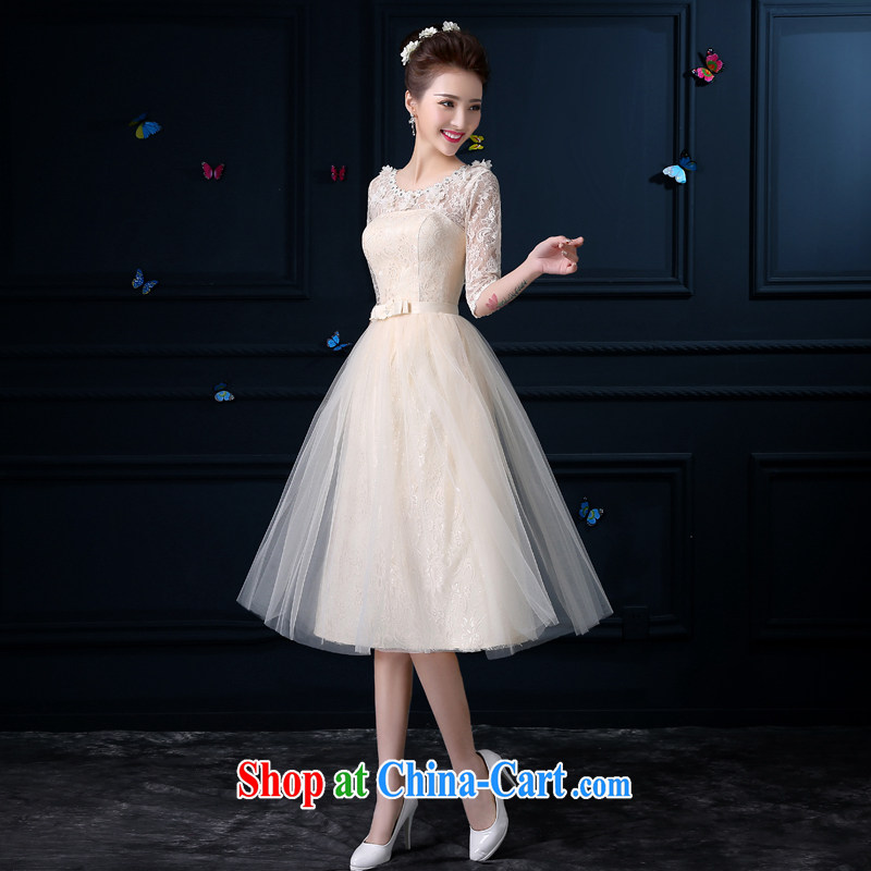 bridesmaid clothing summer 2015 new champagne color girl, long, small banquet dress sister dress bridesmaid dress bridesmaid mission round-collar chest no flowers - Cuff XL 3