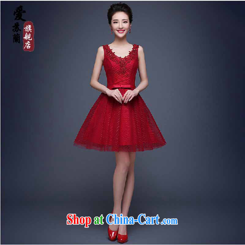 Evening Dress 2015 new summer short banquet dress dress girl bride toast wedding clothes stylish field shoulder Red. Do not return does not switch