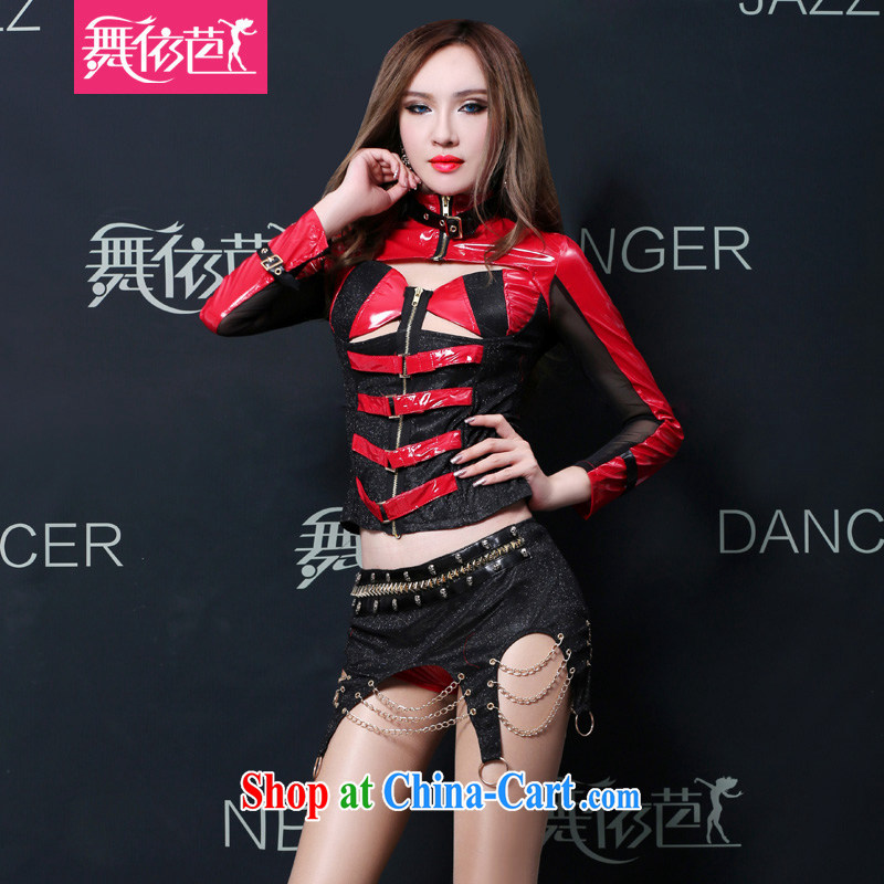 Dance ballet in accordance with European and American Bar Night DS performance service sexy female DJ dancer serving rock dance punk, jazz stage red L the code