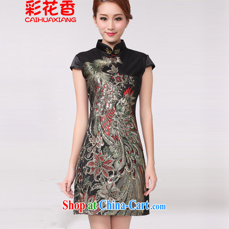 Colorful Flowers 2015 new Peacock hot Peacock embroidery cheongsam festive wedding dresses mother improved black XL