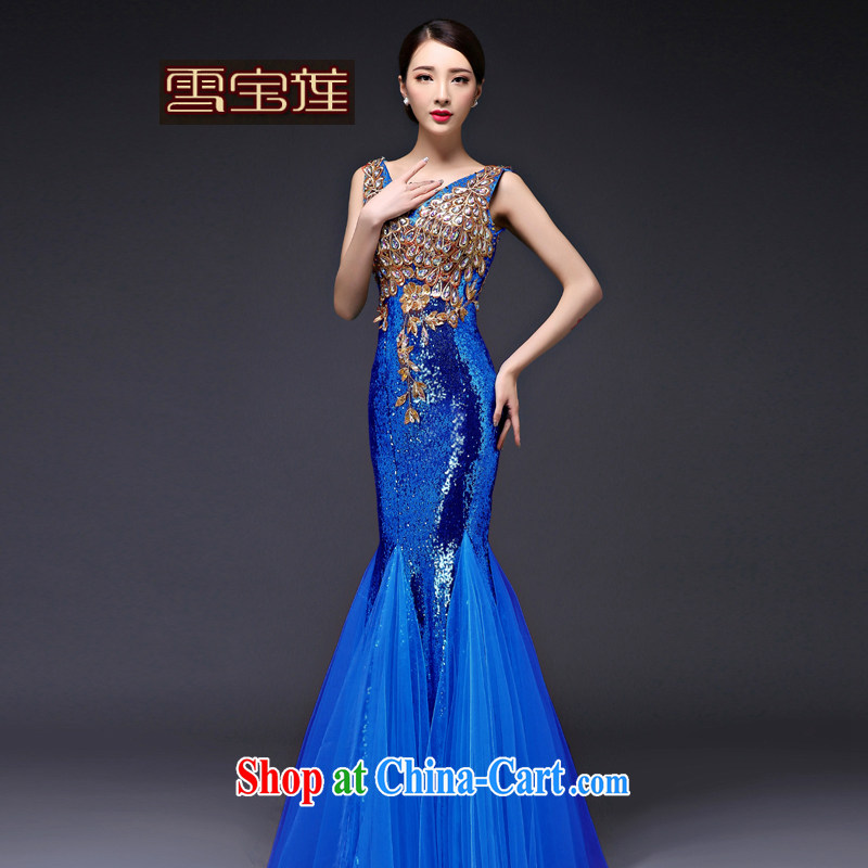 Snow Lotus bridal dresses summer 2015 new bridal beauty crowsfoot shoulders, banquet long blue XL