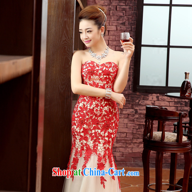 , bridal gown wedding dress yarn stage debut bridesmaid bridal gown upscale embroidery lace photography crowsfoot long dress red wiped his chest tailored contact Customer Service