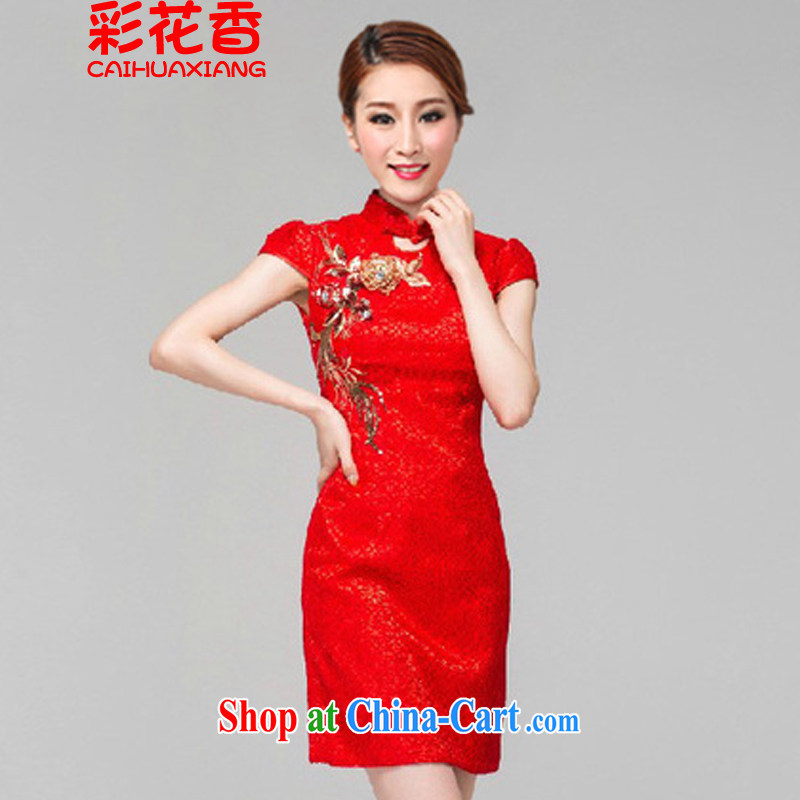 Colorful Flowers 2015 red bridal dresses wedding toast clothing retro embroidery take short improved cheongsam-Noble 6616 red XL