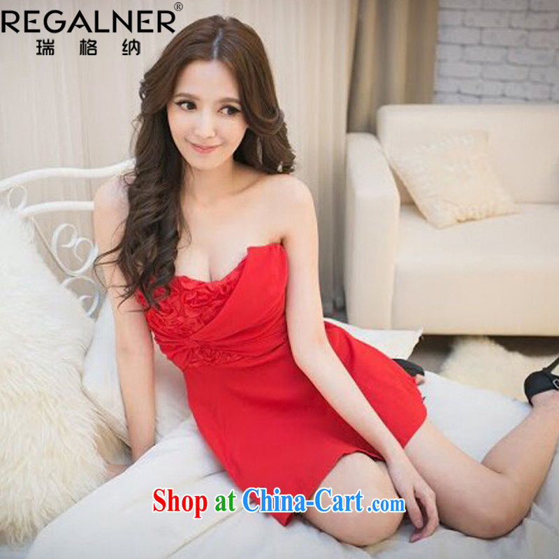 Ryan, the 2015 summer load new, my store ladies dress 3D roses snow spinning flat dress dress bridesmaid clothing red are code