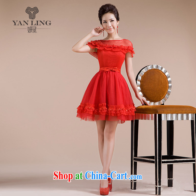 Her spirit 2015 new Openwork lace lace skirt yarn field shoulder sexy luxurious Sweet elegant small dress LF 165 red XL