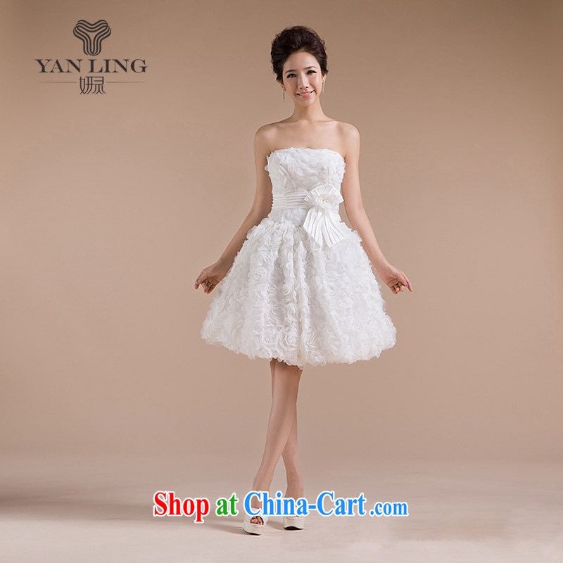 Her spirit 2015 new heart-shaped chest bare nails Pearl, three-dimensional flowers small dress LF 71 white XL