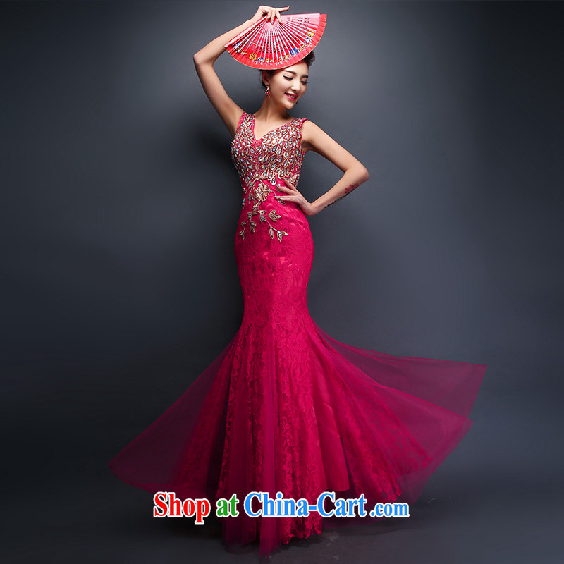 White first to approximately 2015 spring new bride's wedding dresses dress uniform toast Evening Dress crowsfoot long banquet beauty graphics thin women of red tailored contact Customer Service