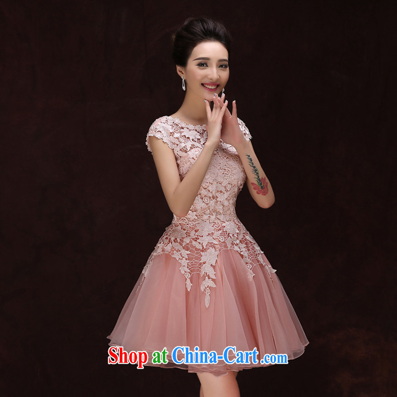 2015 spring and summer new bridesmaid dresses small skirt the Field shoulder short bows, serving women evening dress show wedding dresses pink XXL