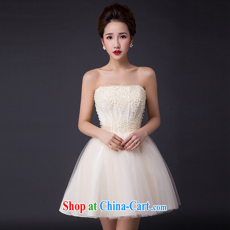 Hi Ka-hi 2015 new bows dress Korean style double-shoulder dress V Annual Meeting for the banquet show dress skirt JX 09 champagne color left size tailored