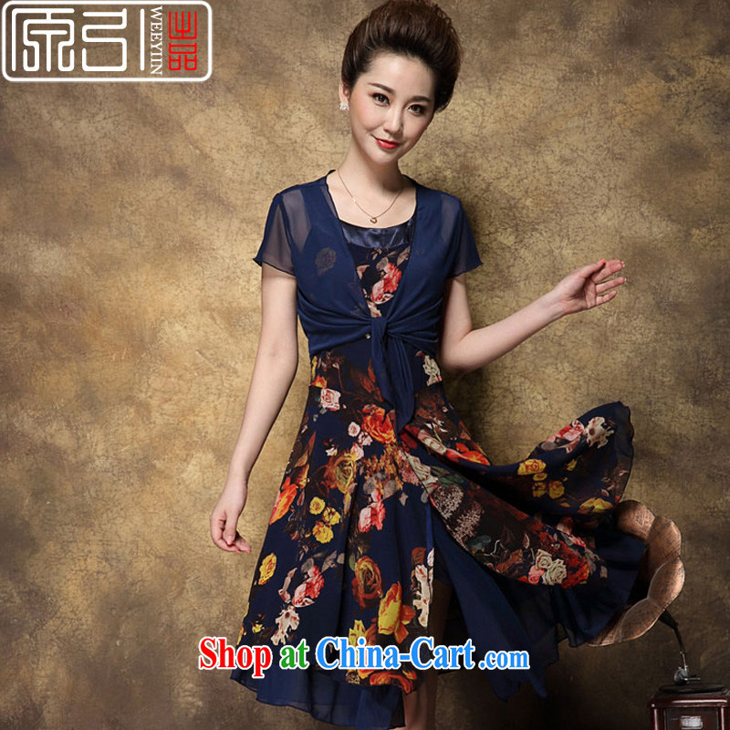 The Original Pin - WEEYIIN dress summer dress new cultivation in Europe and stamp duty two-piece style dress women dress blue XXXL