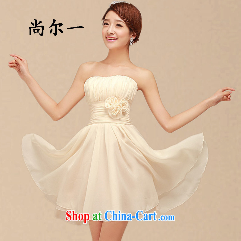 There's a bridesmaid dresses in summer 2015 new Korean bridesmaid serving short banquet dress sister skirt small dress 6105 champagne color code